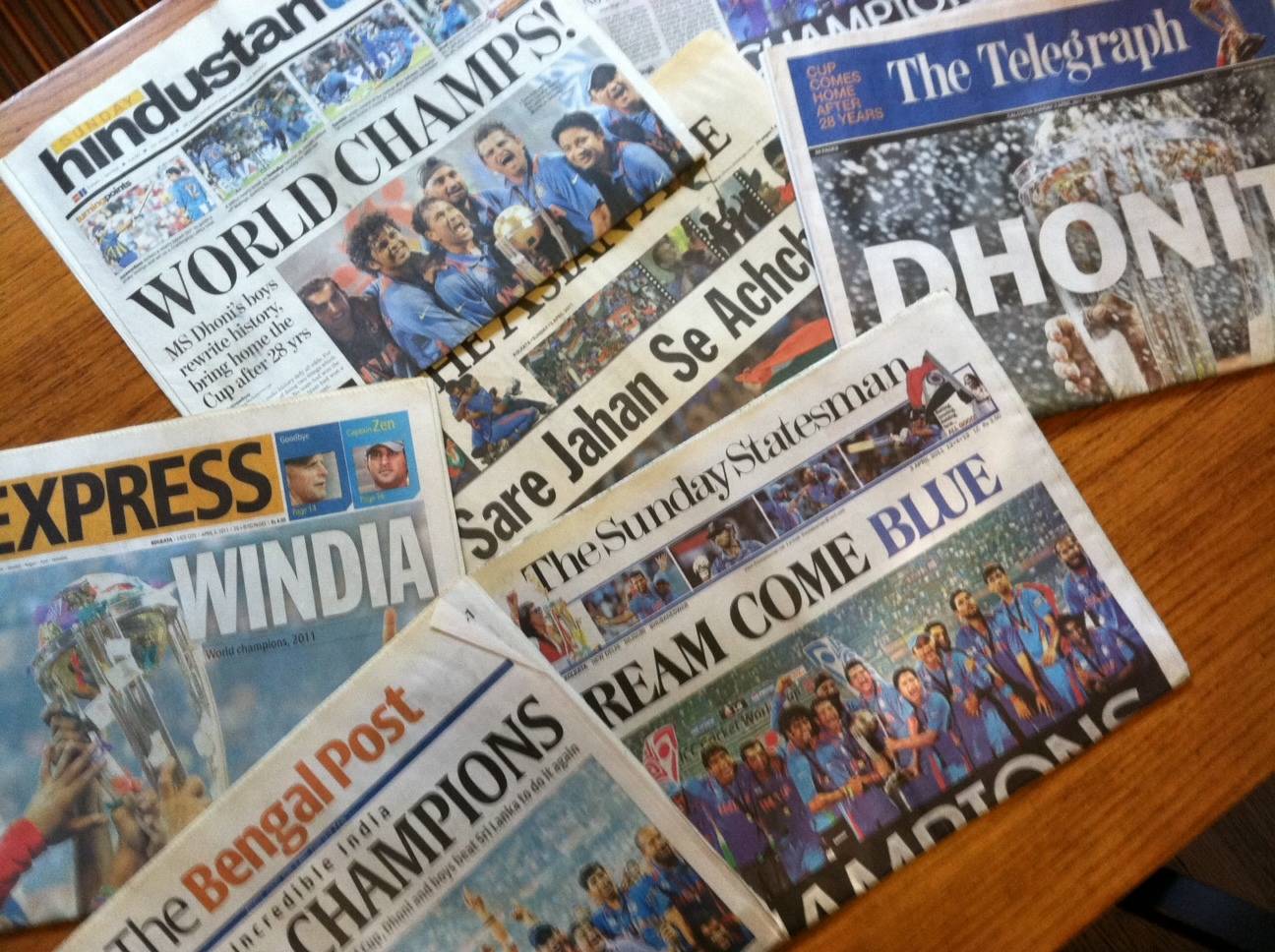 Indian newspapers celebrate the 2011 World Cup win