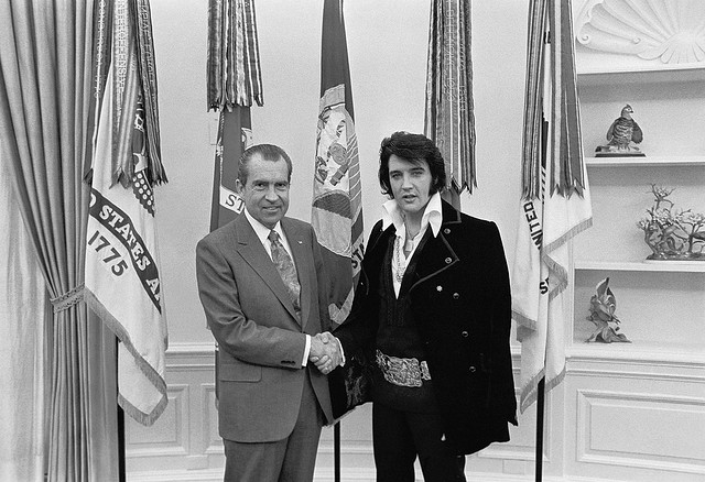 Richard M. Nixon and Elvis Presley at the White House. Source: White House Photo Office. (1969 - 1974)