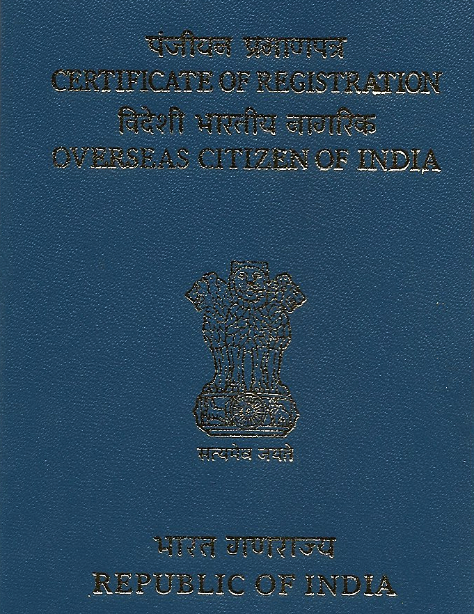 the front of the Indian OCI card