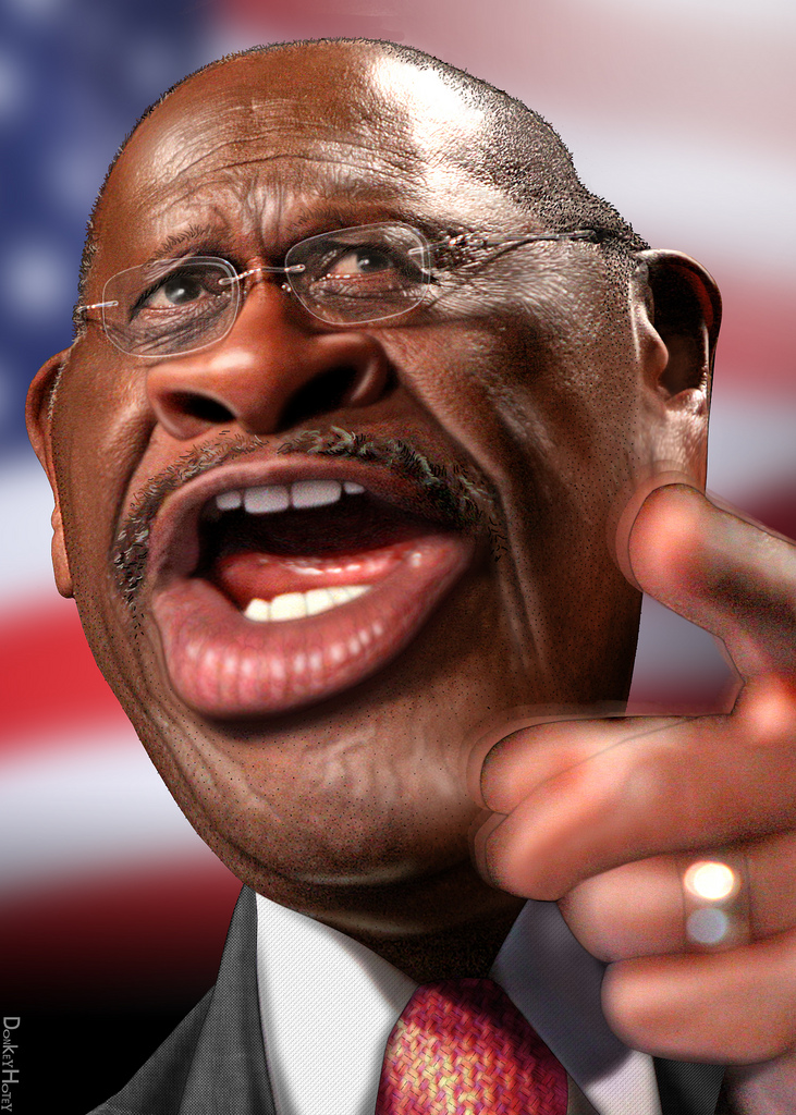 a caricature of Herman Cain