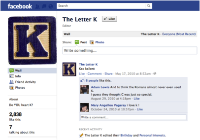 Facebook page for the letter K