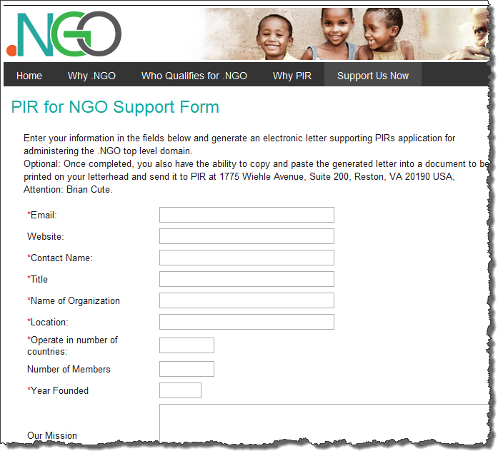 NGO Support Form