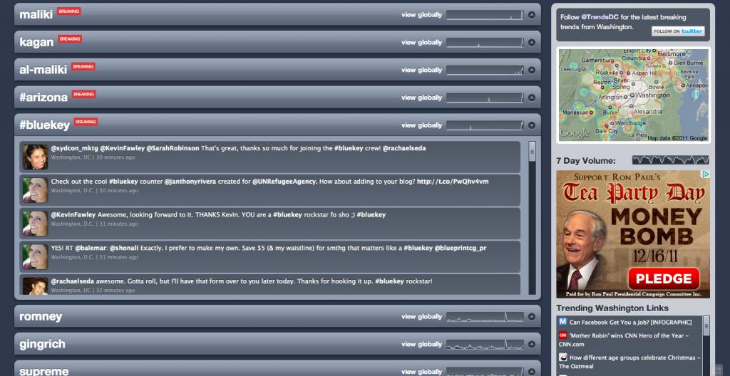 the #bluekey December '11 tweetathon trended in DC