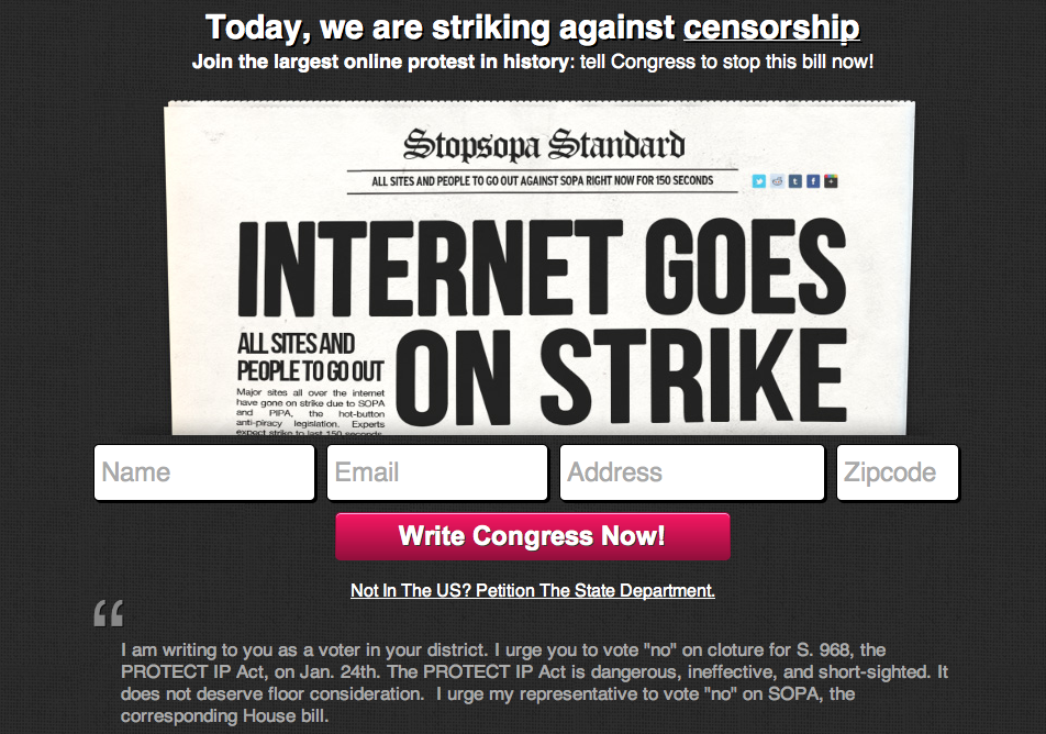 Waxing UnLyrical went dark on Jan. 18 to strike against SOPA