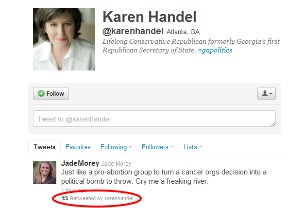 Karen Handel's retweet