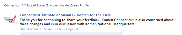 Komen CT on new national grant policy