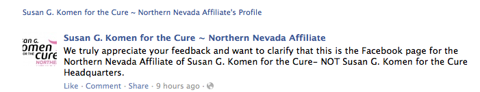 Komen Northern Nevada on new national grants policy