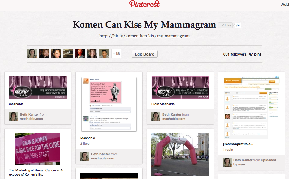 Beth Kanter's Pinterest board on Komen/Planned Parenthood