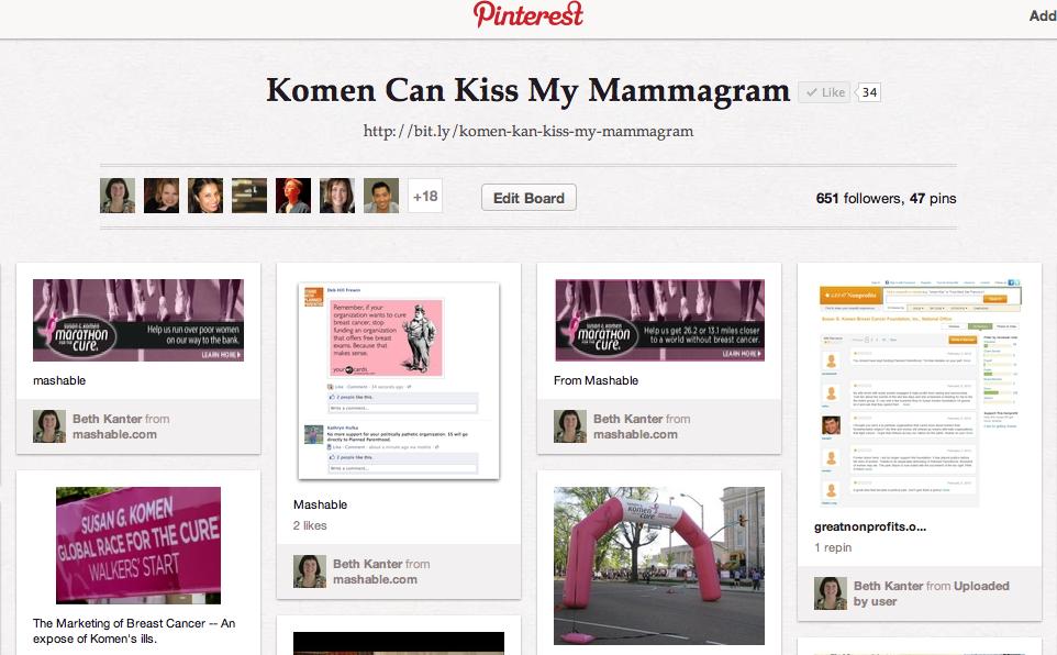 Beth Kanter's Pinterest board on Komen/Planned Parenthood