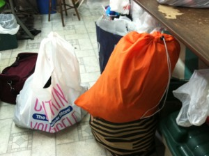 three bags of clothes... for alteration!