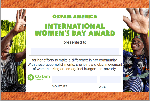 Oxfam America's International Women's Day 2012 eAward