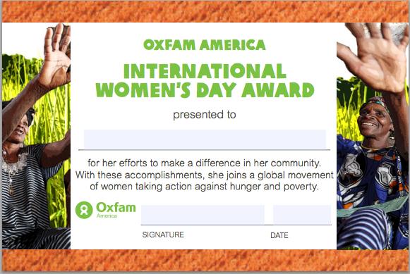 Oxfam America's International Women's Day 2012 eAward