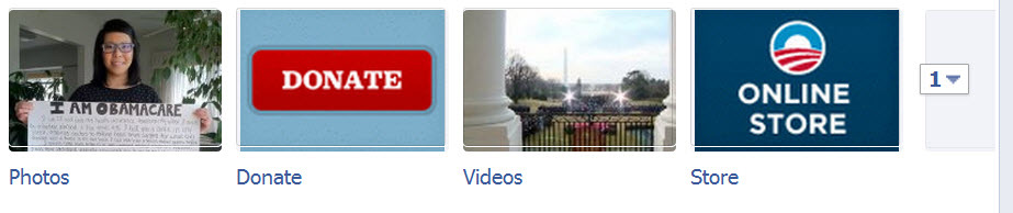 Obama's call to action App icons on Facebook