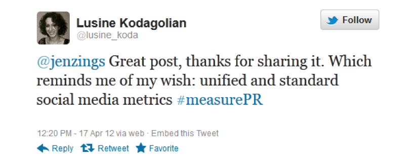@lusine_koda on #measurePR, Apr 16, 2012