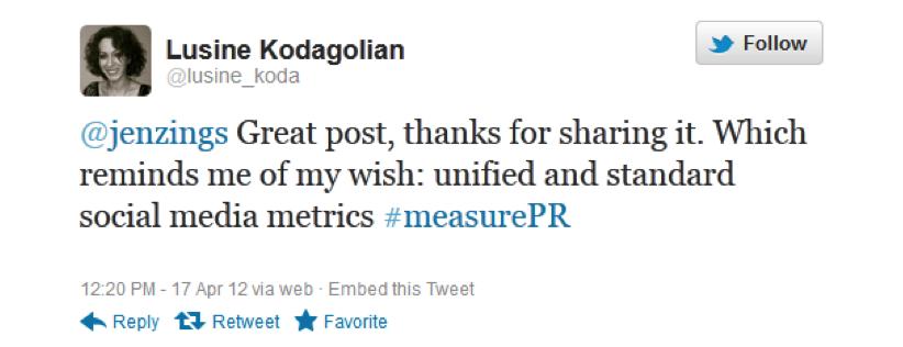 @lusine_koda on #measurePR, Apr 16, 2012