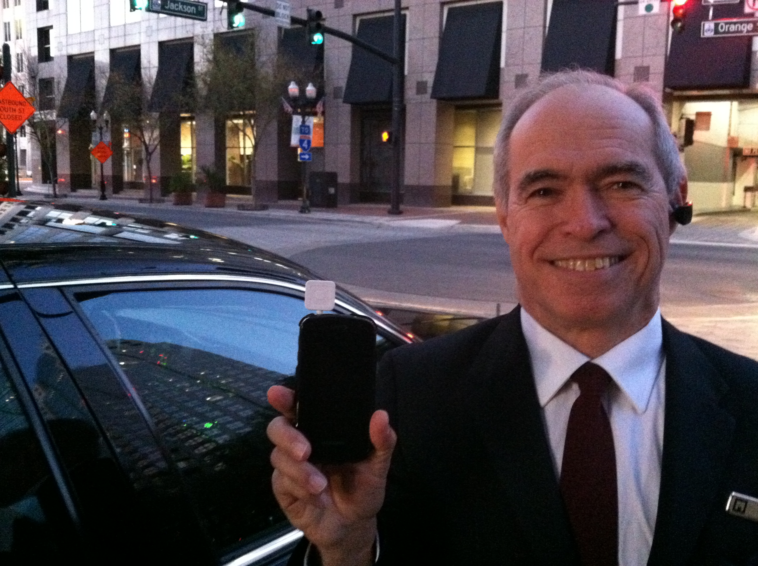 Orlando based chauffeur Rick Henry displays his mobile office
