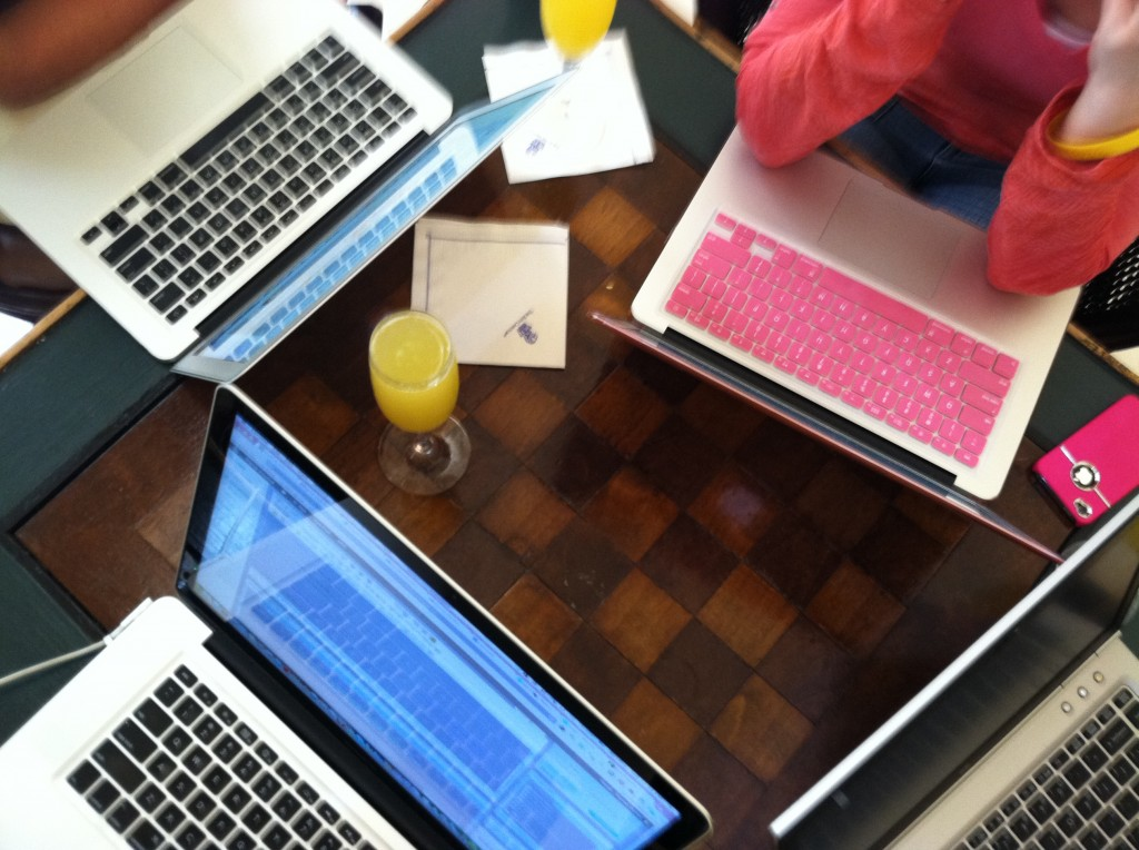 laptops and mimosas