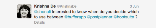 Krishna De asks about Twitter tools