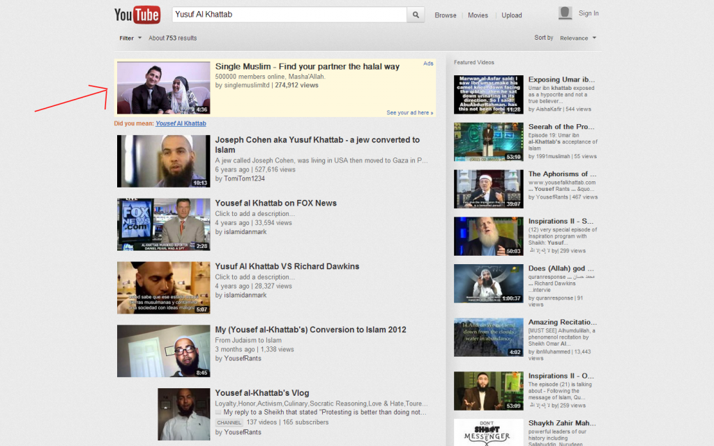 YouTube search for Al Khattab shows Muslim singles ad