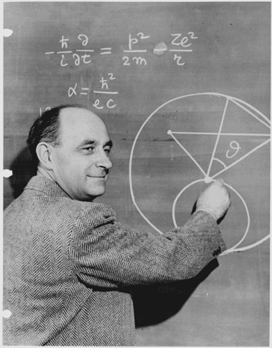 Scientist Enrico Fermi demonstrating formulae.