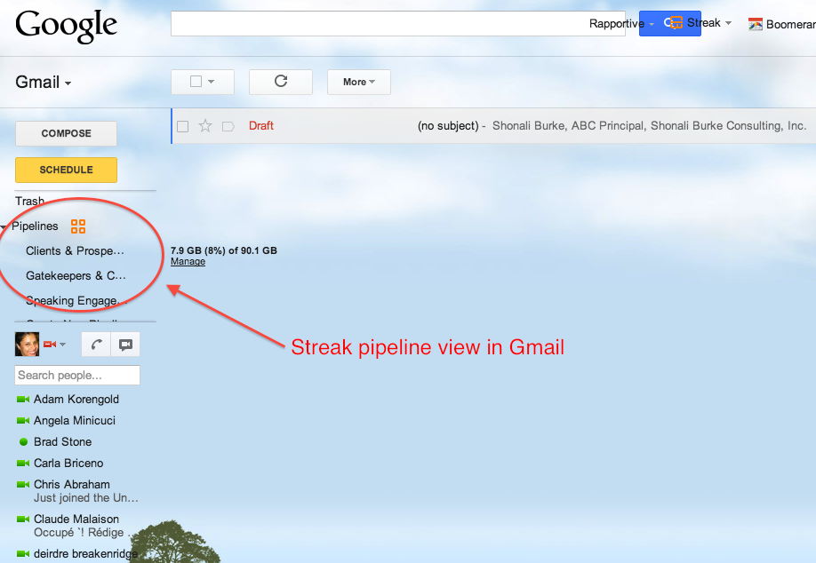 Streak pipeline view in Gmail