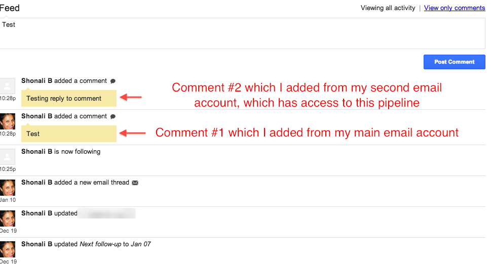 adding comments in Streak