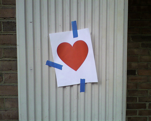 valentine taped to wall