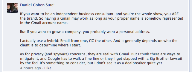 FB response to business email address #3