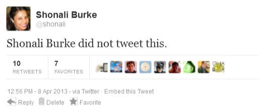Shonali Burke's Fake Tweet