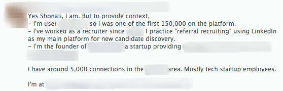 clarification on LinkedIn question