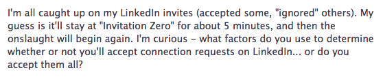 Facebook question on accepting LinkedIn invitations