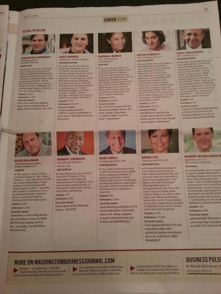 "WBJ ""10 CEOs to Follow on Twitter"""