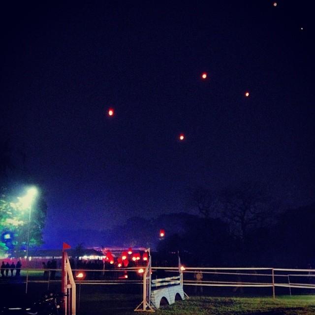 Red lanterns gliding into the Kolkata skies