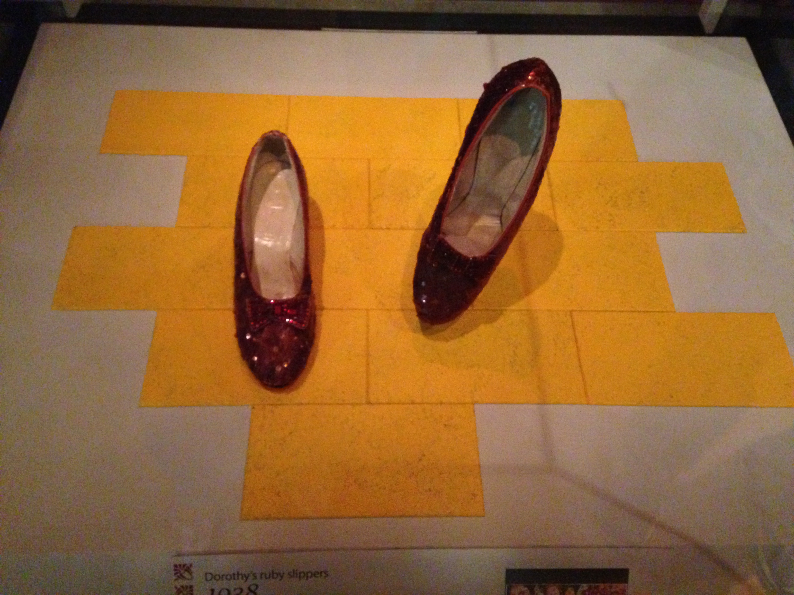 "red ruby slippers worn by Judy Garland in ""The Wizard of Oz"""