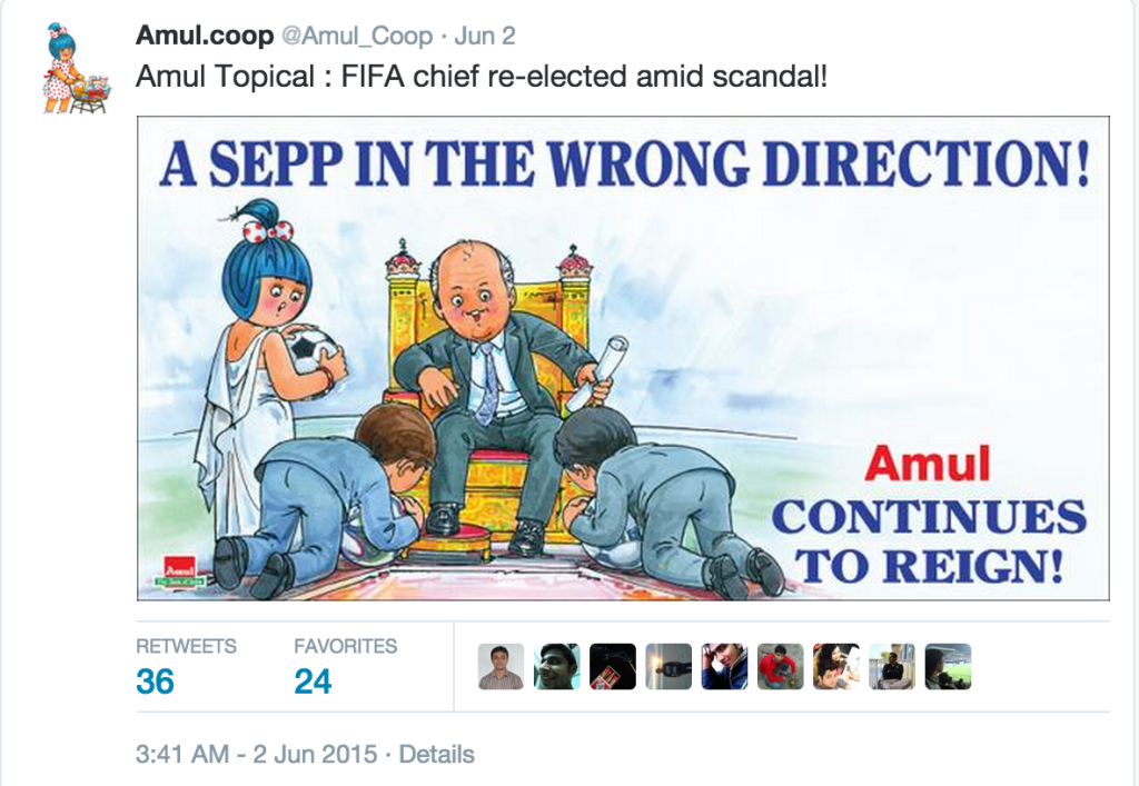 Amul Topical cartoon on Twitter