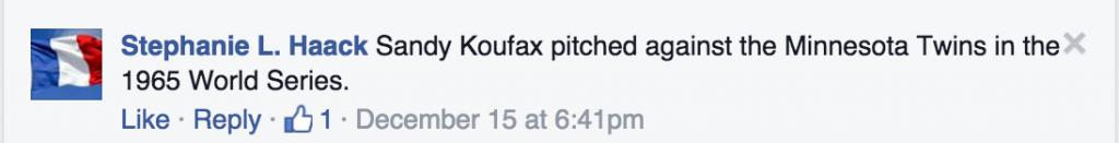 haack random fact about koufax