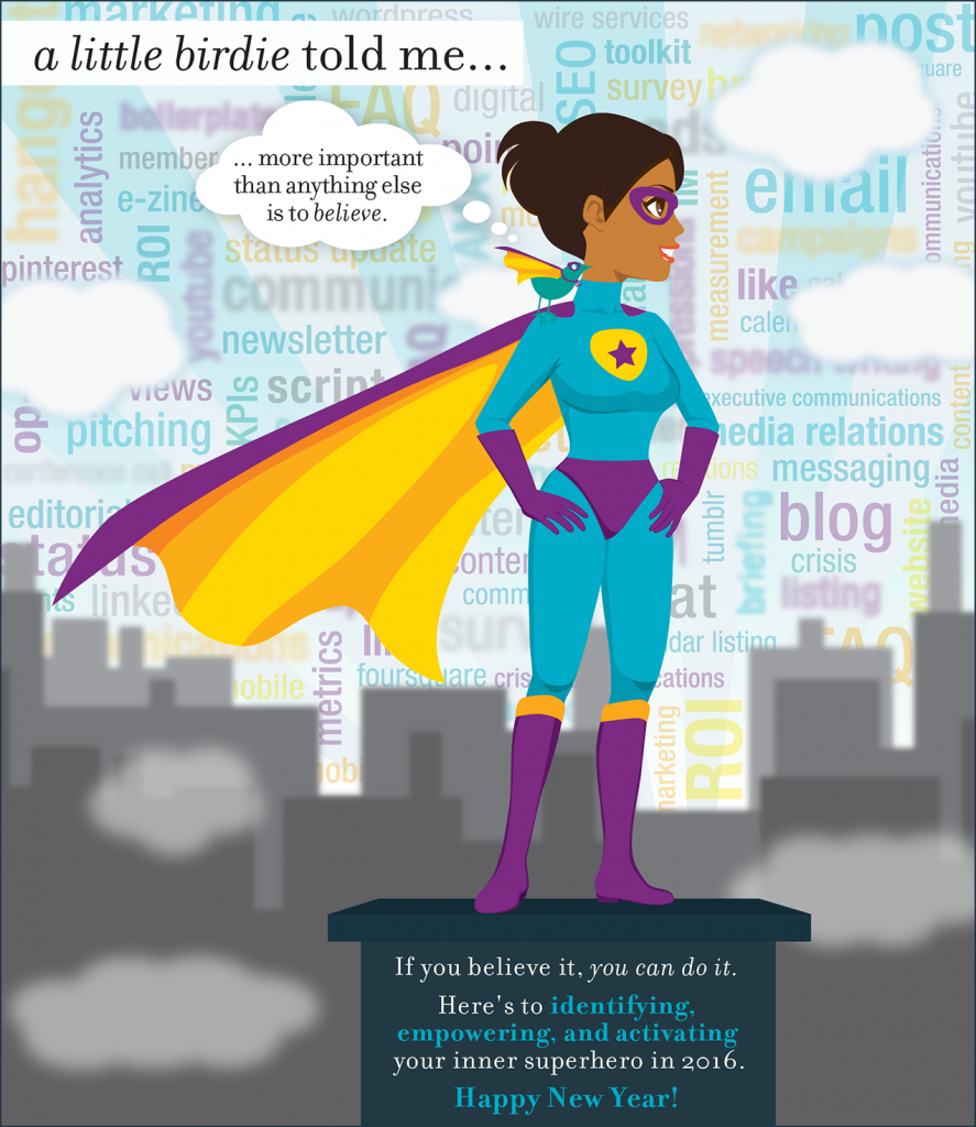 2016 New Year ecard on unleashing your inner superhero