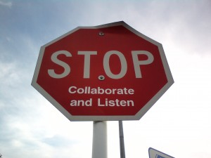 stop collaborate listen stop sign