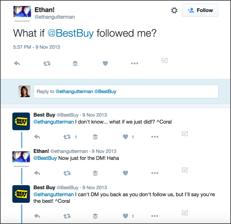 Best Buy conversing on Twitter