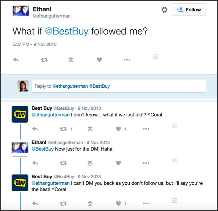 Best Buy conversing on Twitter