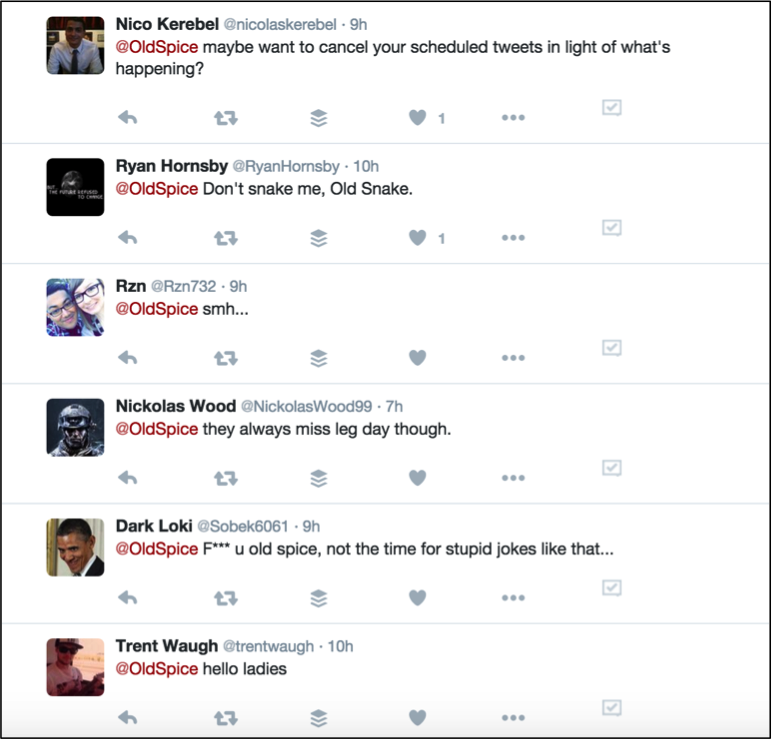 Reaction to Old Spice tweets during 2015 Paris attacks