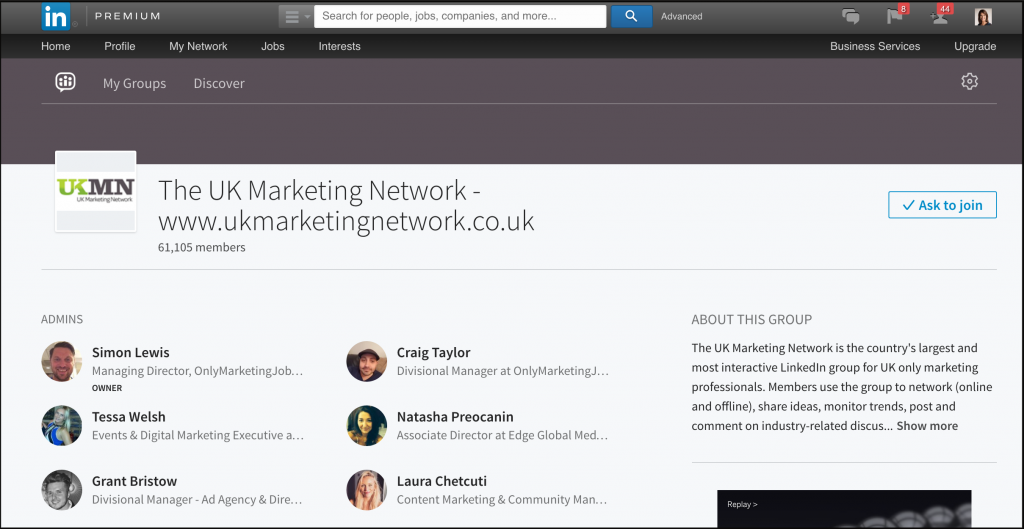 UK Marketing Network LinkedIn group