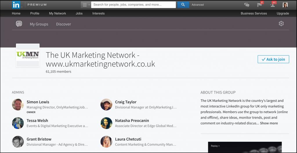 UK Marketing Network LinkedIn group