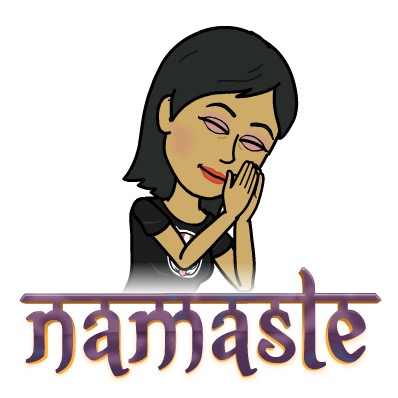bitmoji of Shonali saying namaste