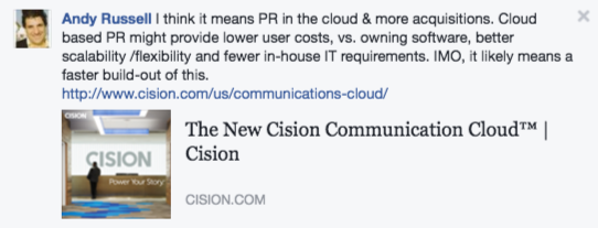 Andy Russell comment on Cision going public