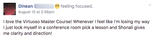 Master Course testimonial from Dinean R