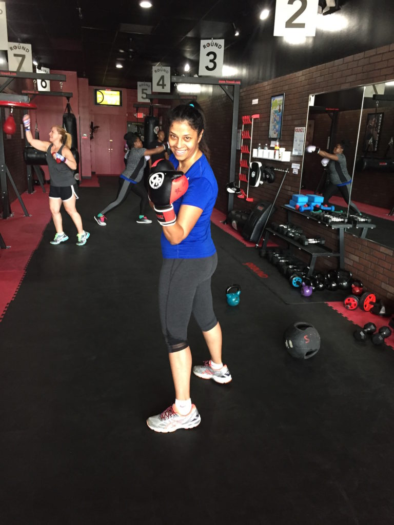 Shonali after her first kickboxing class