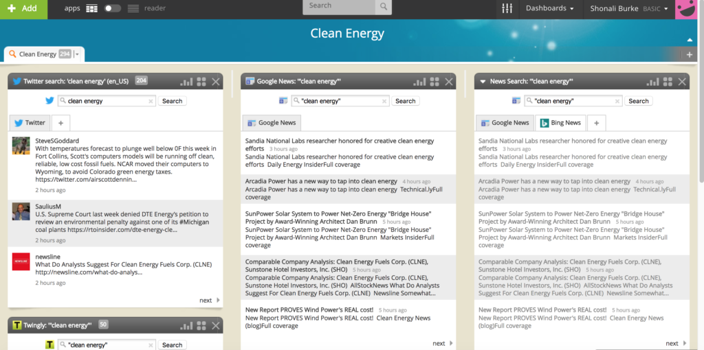 Netvibes clean energy social listening dashboard